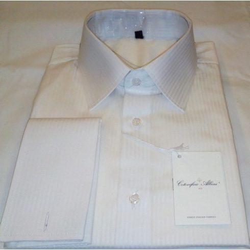 Fehér, anyagában csíkos hosszú ujjú ing