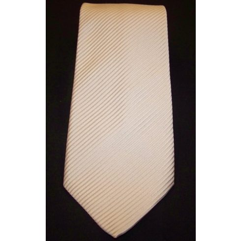Fehér alapon világosszürke csíkos poliészter nyakkendő