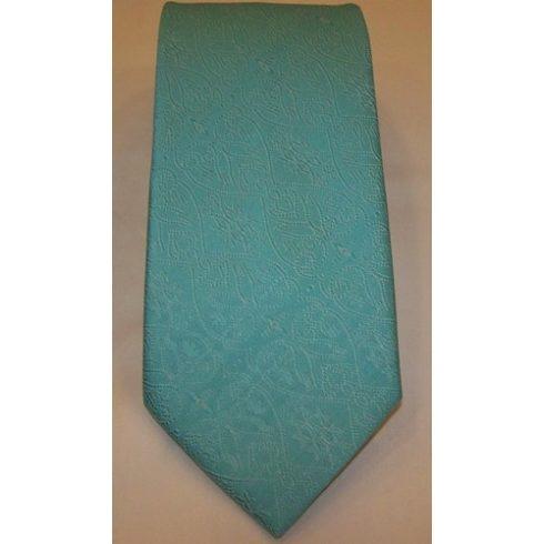 Türkízzöld alapon fehér mintás poliészter nyakkendő