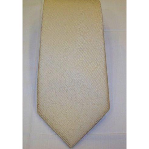 Krémszínű, anyagában mintás poliészter nyakkendő