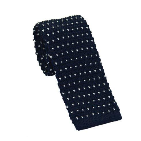Középkék kötött selyem nyakkendő