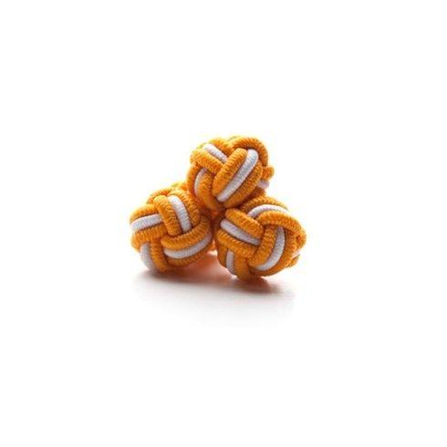 Narancssárga-Fehér selyem mandzsettagomb szett