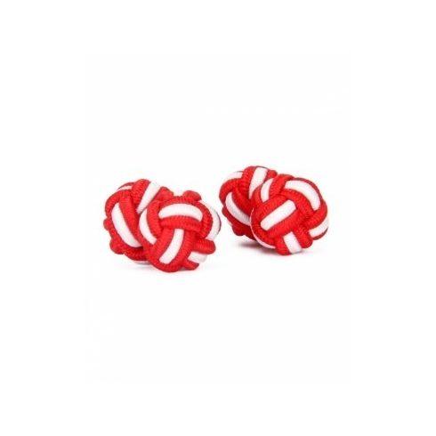 Piros-Fehér selyem mandzsettagomb szett