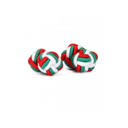 Piros-Zöld-Fehér selyem mandzsettagomb szett