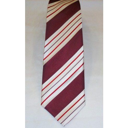 Bordó alapon fehér, piros és fekete csíkos selyem nyakkendő