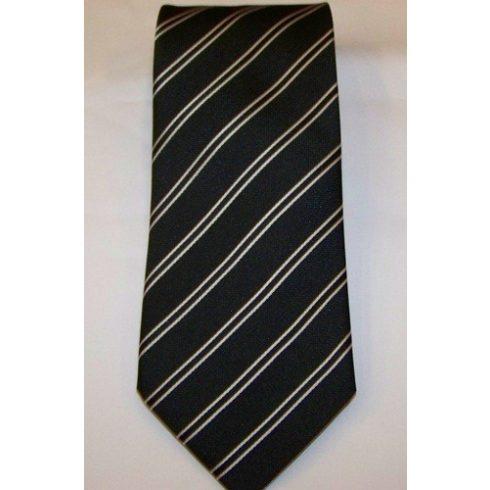 Fekete alapon fehér csíkos selyem nyakkendő