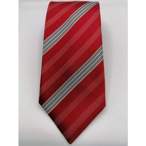 Kék alapon szürke és fekete csíkos selyem nyakkendő