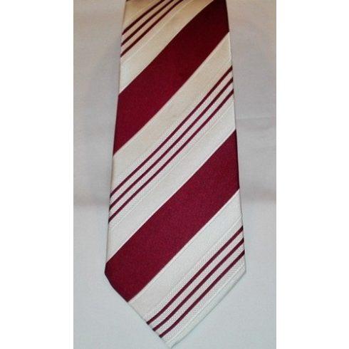 Törtfehér alapon bordó csíkos selyem nyakkendő