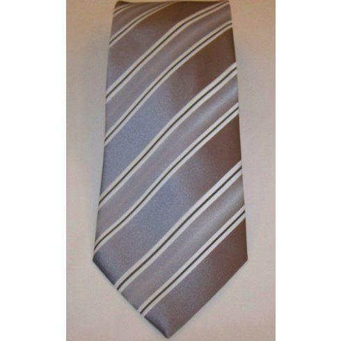 Szürke alapon fehér és sötétszürke csíkos selyem nyakkendő