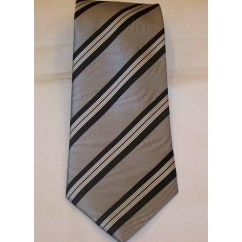 Szürke alapon fehér és fekete csíkos selyem nyakkendő