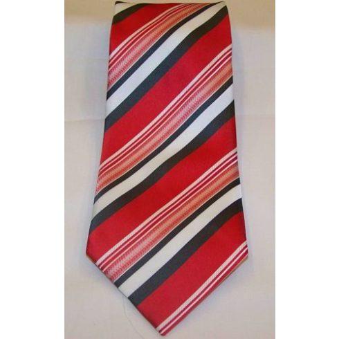 Piros alapon fehér és szürke csíkos selyem nyakkendő