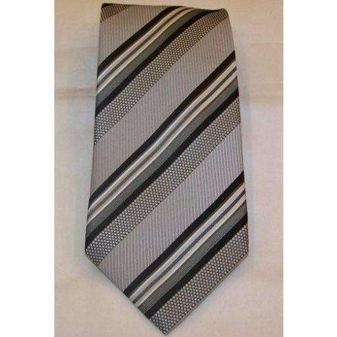 Szürke alapon sötétszürke és fekete csíkos selyem nyakkendő
