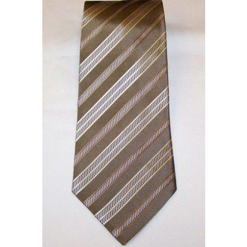 Barna alapon krém és sötétbarna csíkos selyem nyakkendő