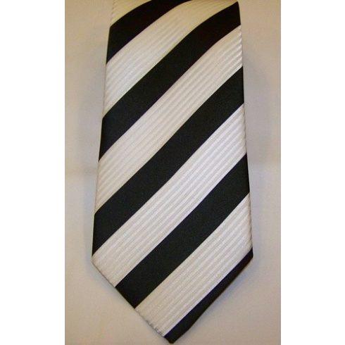 Fehér alapon fekete csíkos selyem nyakkendő
