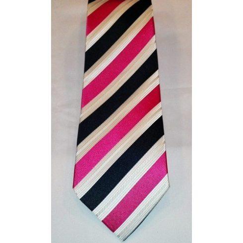 Sötétkék alapon magenta és törtfehér csíkos selyem nyakkendő