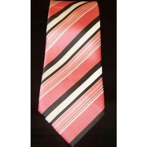 Rózsaszín alapon fehér és szürke csíkos selyem nyakkendő