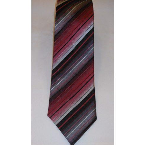 Fekete alapon piros, bordó, szürke és fehér csíkos selyem nyakkendő