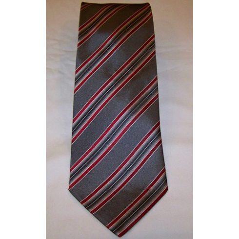 Sötétszürke alapon fehér és bordó csíkos selyem nyakkendő