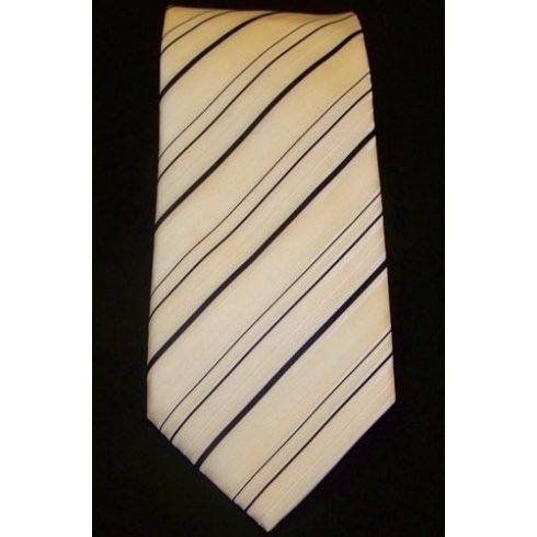 Törtfehér alapon fekete csíkos selyem nyakkendő