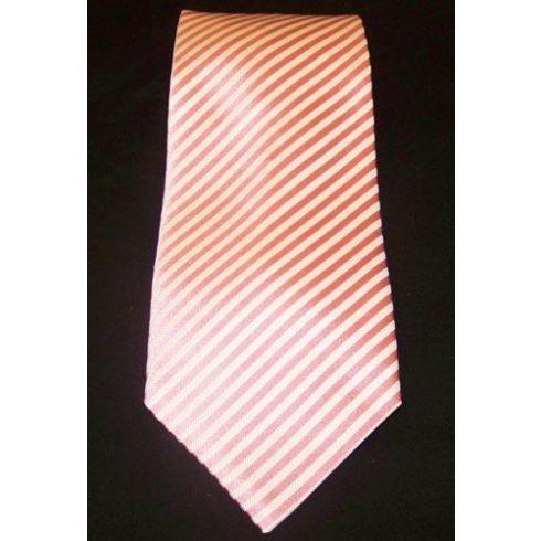 Fehér alapon rózsaszín csíkos selyem nyakkendő