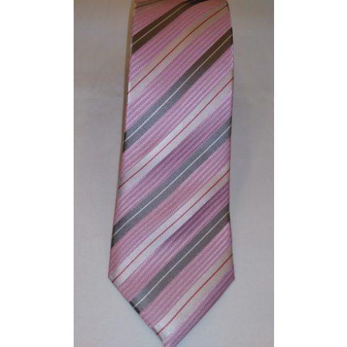 Rózsaszín alapon piros, szürke és krémszínű csíkos selyem nyakkendő