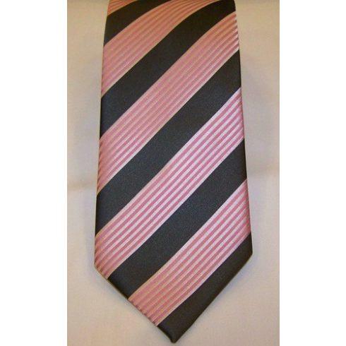 Rózsaszín és szürke csíkos selyem nyakkendő