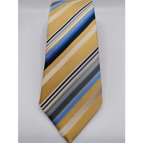 Barna alapon ekrü, kék és sötétkék csíkos selyem nyakkendő