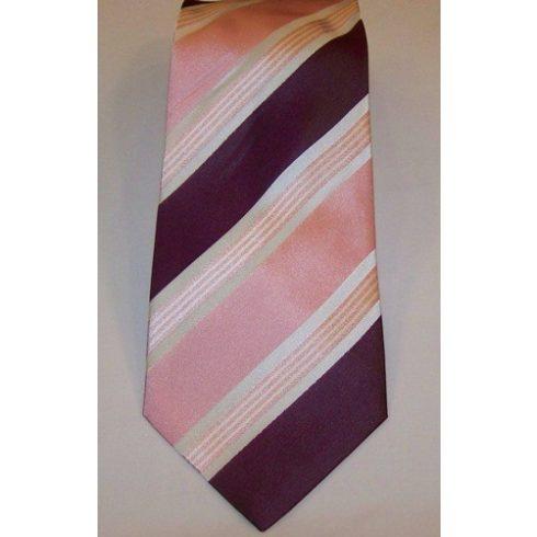 Rózsaszín, sötétlila és fehér csíkos selyem nyakkendő