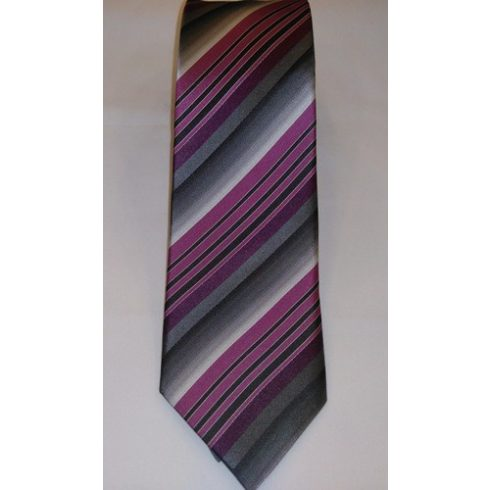 Szürke alapon ciklámenlila és sötétszürke csíkos selyem nyakkendő