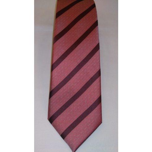 Bordó alapon piros és szürke csíkos selyem nyakkendő