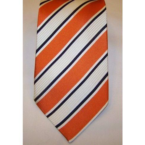 Törtfehér, narancssárga és sötétkék csíkos selyem nyakkendő