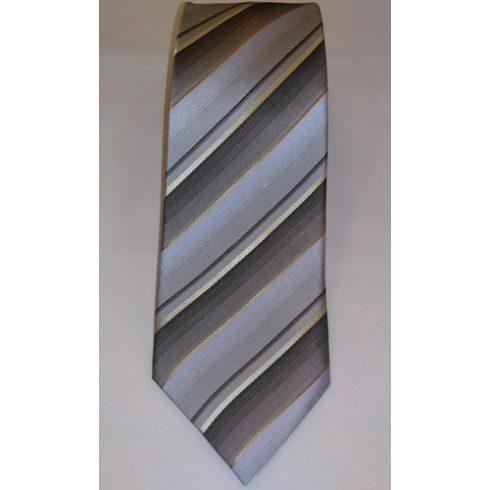 Szürke, kék, barna és ekrü csíkos selyem nyakkendő