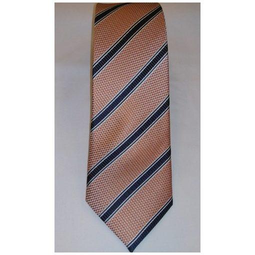 Narancssárga, sötétkék és fehér csíkos selyem nyakkendő