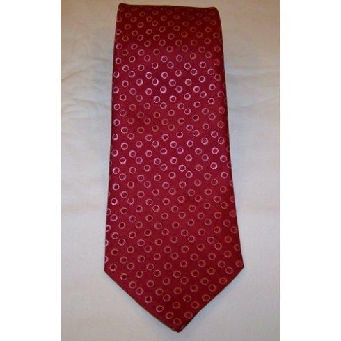 Bordó alapon rózsaszín mintás selyem nyakkendő