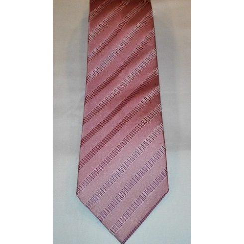 Púderrózsaszín alapon rózsaszín mintás selyem nyakkendő