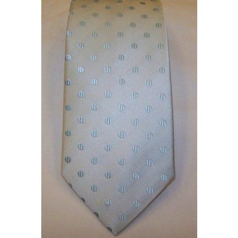 Jégkék alapon mentazöld mintás selyem nyakkendő