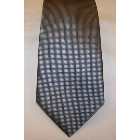 Ezüstszürke alapon fekete mintás selyem nyakkendő