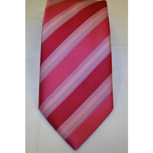 Rózsaszínes piros alapon kék, sárga és bordó mintás selyem nyakkendő