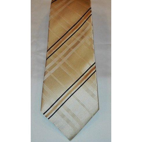 Bézs alapon barna és fekete mintás selyem nyakkendő