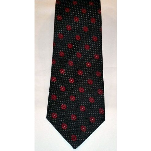 Fekete alapon piros és rózsaszín mintás selyem nyakkendő