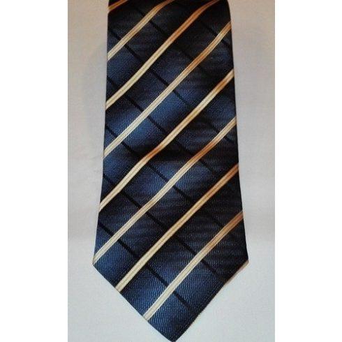 Sötétkék alapon krémszínű és fekete csíkos selyem nyakkendő