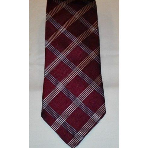 Bordó alapon krémszínű és kék csíkos selyem nyakkendő