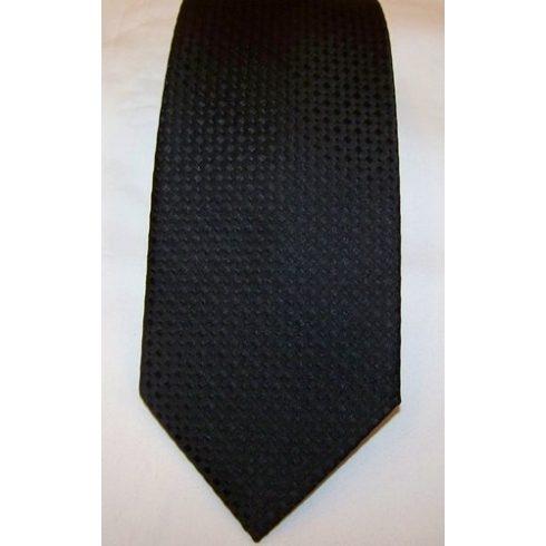 Fekete, anyagában csíkos selyem nyakkendő