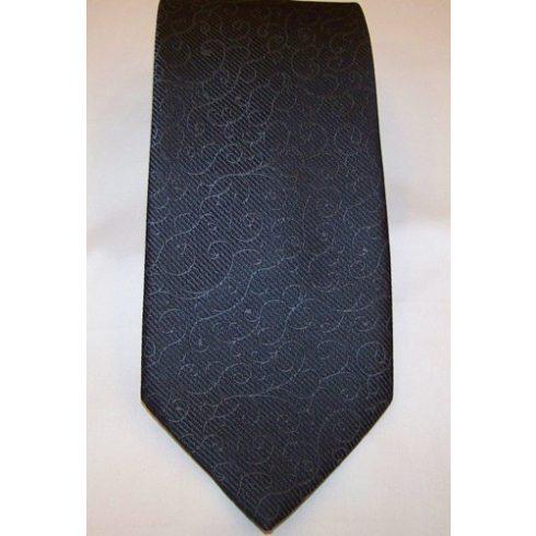Sötétszürke alapon szürke mintás poliészter nyakkendő