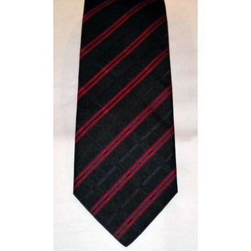 Fekete alapon bordó mintás poliészter nyakkendő