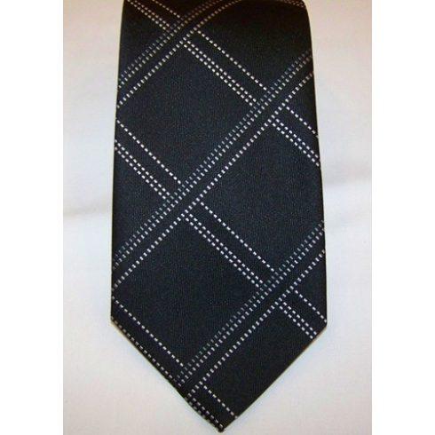 Fekete alapon világosszürke mintás poliészter nyakkendő