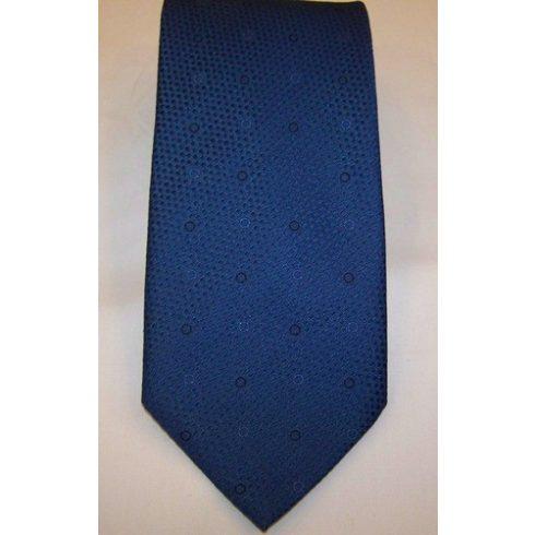 Királykék alapon sötétkék mintás poliészter nyakkendő