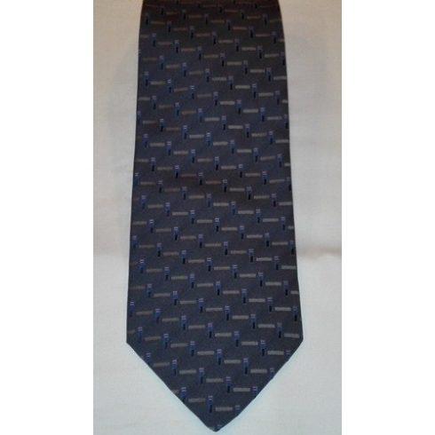 Farmerkék alapon szürke és lila mintás poliészter nyakkendő