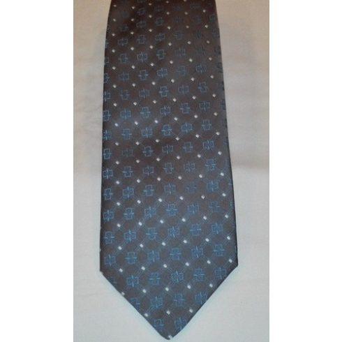 Sárga alapon fekete mintás poliészter nyakkendő