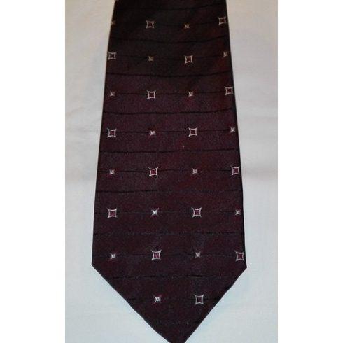 Sötétbordó alapon fehér mintás poliészter nyakkendő